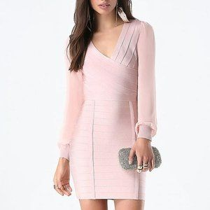 BEBE Blush Pink Sheer Sleeve Bandage Dress XS